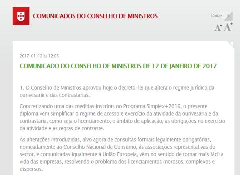 Alteração do RJOC - Aprovado em Decreto-Lei